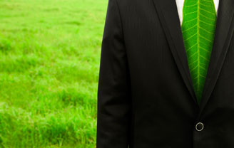 person wearing suit with green leaf tie