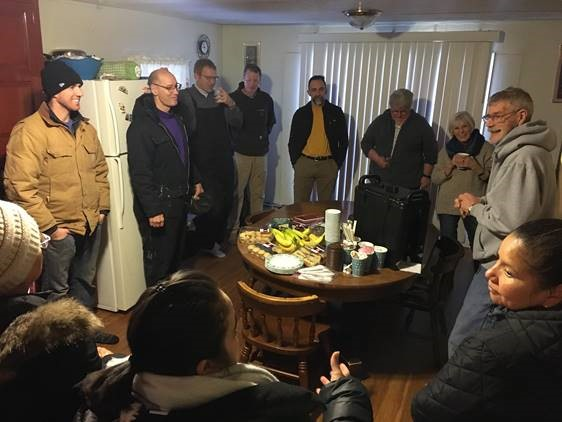 residents gather in kitchen