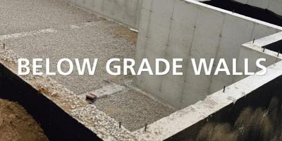 "basement being built overlaid with text reading ""Below Grade Walls"""