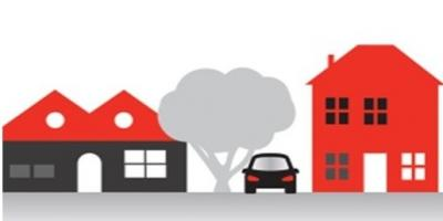 illustration of a car, tree, and homes on a street