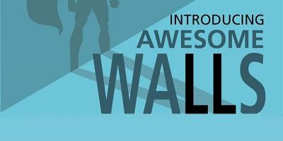 "silhouette of person in a cape next to the text ""Introducing Awesome Walls"""